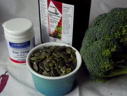 Iron and PMS: dark green leafy vegetables & a supplement like Floradix are sources of iron. Pumpkin seeds are a good source of zinc.